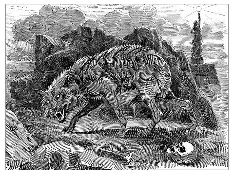 Sátira británica Londres caricaturiza comics dibujos animados ilustraciones: hombre lobo de la anarquía