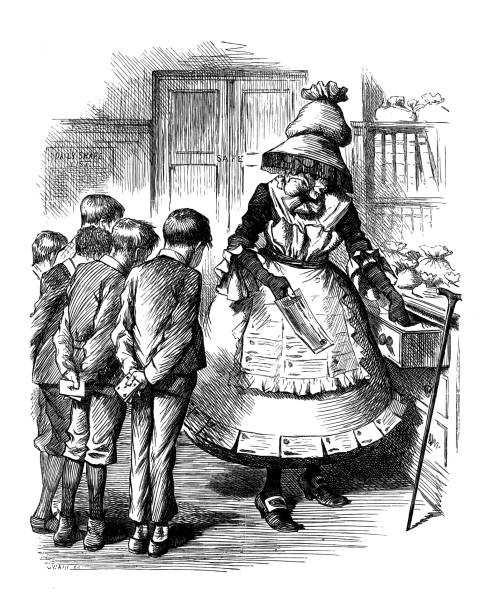 british london satire caricatures comics cartoon illustrations: old lady - old man puppet stock illustrations, clip art, cartoons, & icons