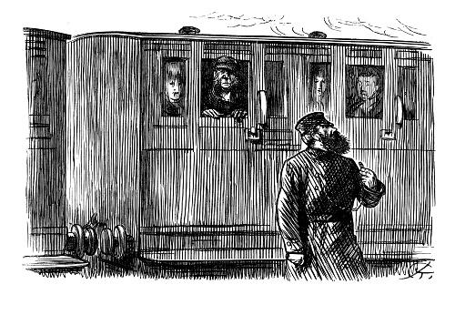 British London satire caricatures comics cartoon illustrations: Train