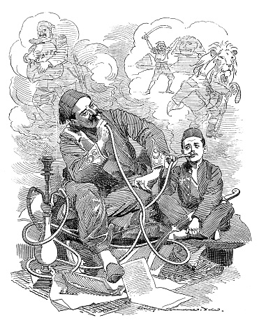 British London satire caricatures comics cartoon illustrations: Turks smoking