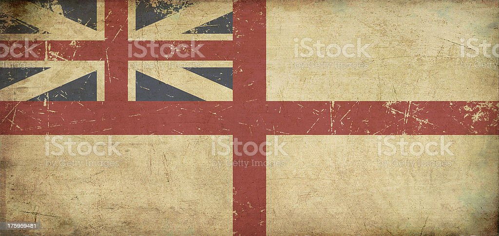 British Naval Ensign 1606–1801 (The King's Colours) Flat Aged royalty-free stock vector art