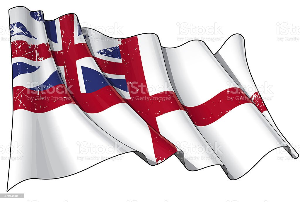 British Navy Flag 1606–1801 (The King's Colours) Scratched royalty-free stock vector art