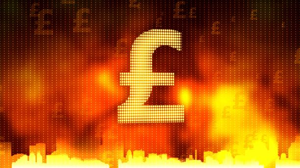 British pound sign against fiery background, stable currency, financial market vector art illustration