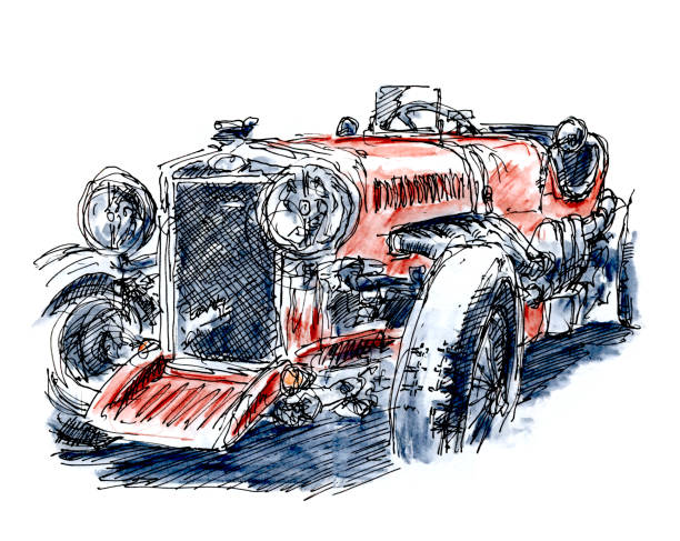 British Red Classic Racecar Ink Drawing and Watercolor British Red Classic Racecar. Fountain Pen Ink Drawing and Watercolor Pencils. Drawn on location. motor sport stock illustrations