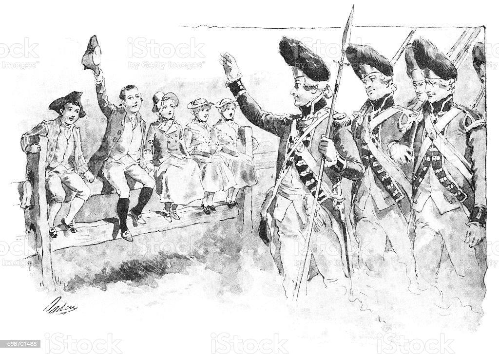 British redcoats waving to American Loyalist children vector art illustration