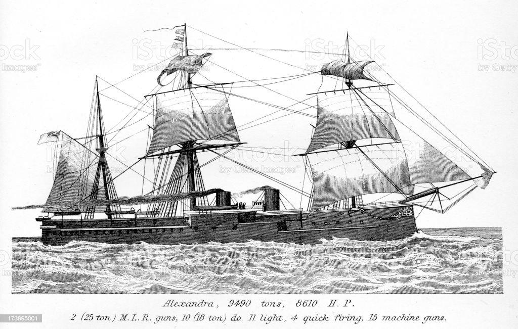 British Royal Navy Warship HMS Alexandra royalty-free stock vector art