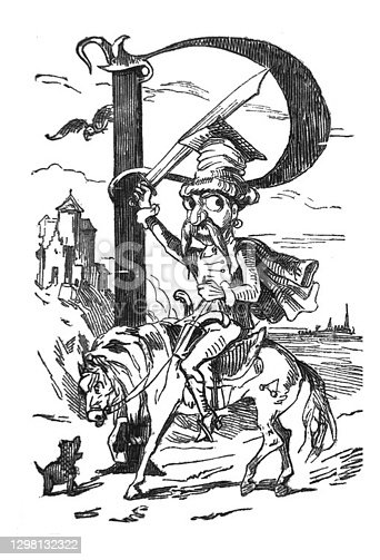 istock British satire comic caricatures illustrations - man in a uniform riding a horse holding up a large sword - large letter P in the background 1298132322