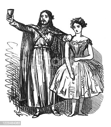 istock British satire comic cartoon caricatures illustrations - Actor in renaissance outfit holding goblet in the air with his arm on a ballerina 1223484083