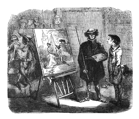 British satire comic cartoon caricatures illustrations - Artist and patron looking at a painting on an easle