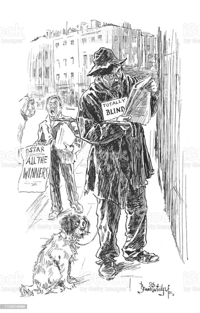 British Satire Comic Cartoon Caricatures Illustrations Beggar With