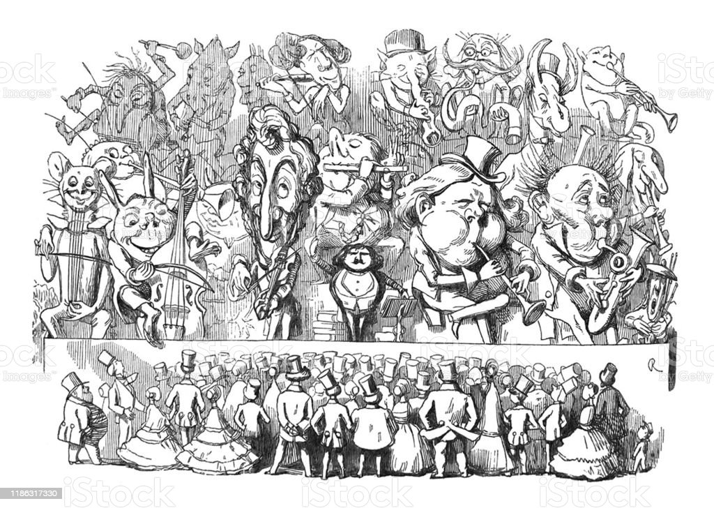 British Satire Comic Cartoon Caricatures Illustrations Group Of