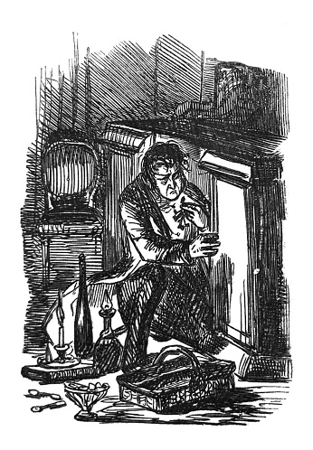 British satire comic cartoon caricatures illustrations - Man climbing into a cabinet