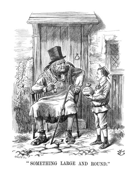 british satire comic cartoon caricatures illustrations - man holding old age pension bag with elderly man - old man puppet stock illustrations, clip art, cartoons, & icons