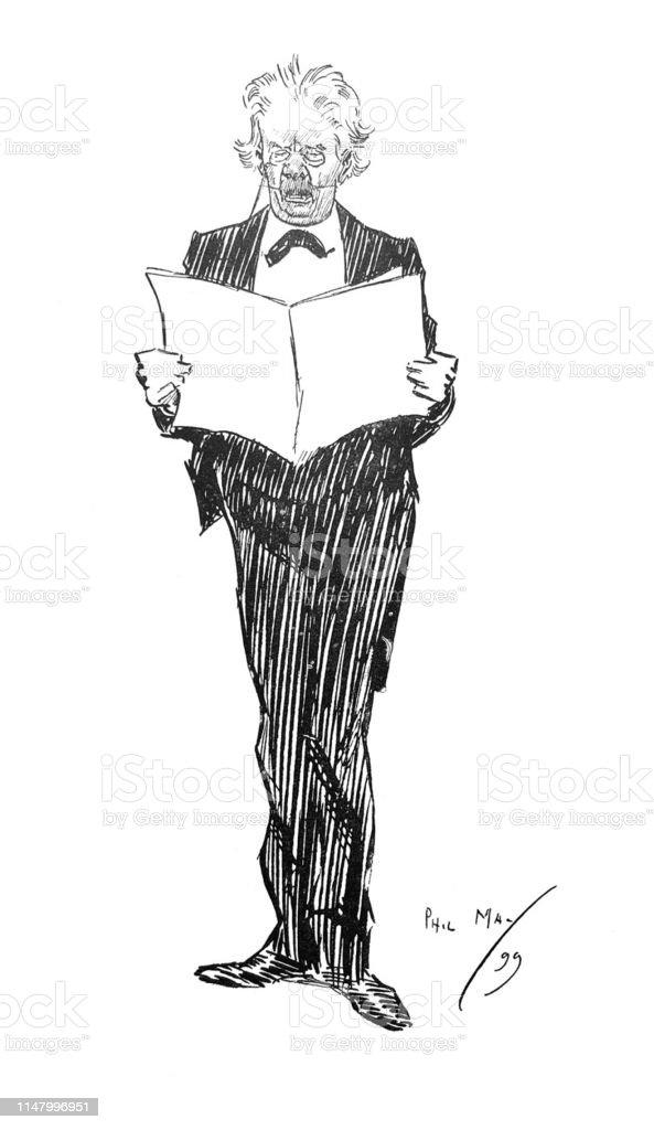 British Satire Comic Cartoon Caricatures Illustrations Man Holding
