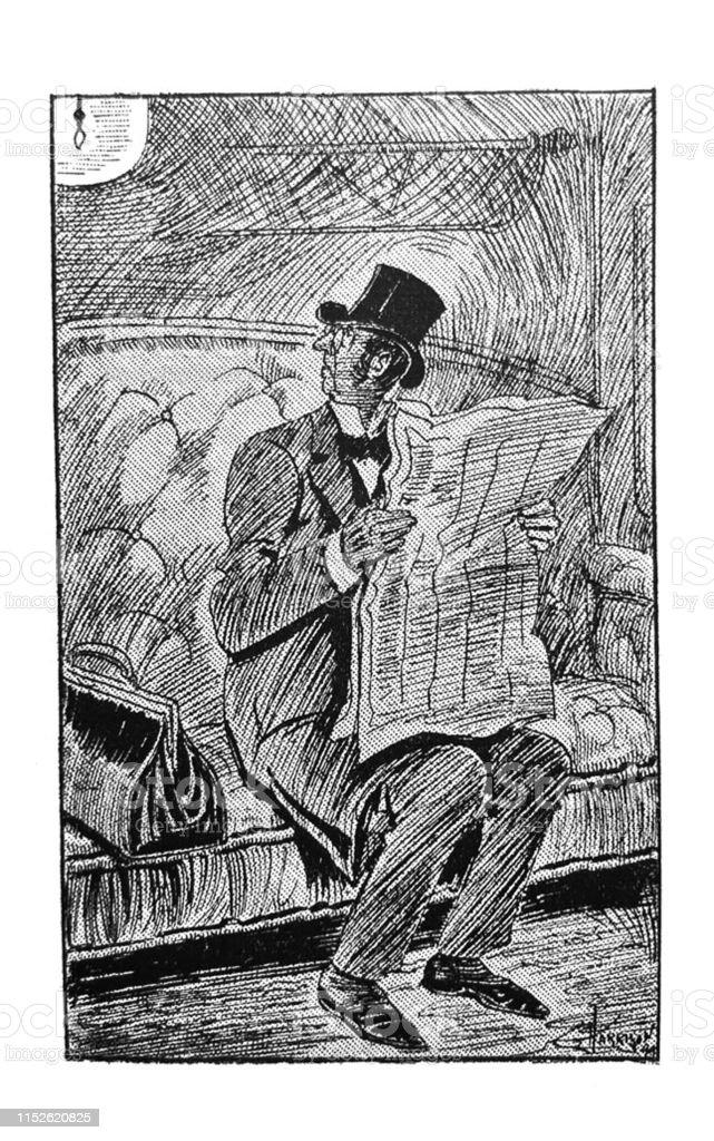 British Satire Comic Cartoon Caricatures Illustrations Man Reading