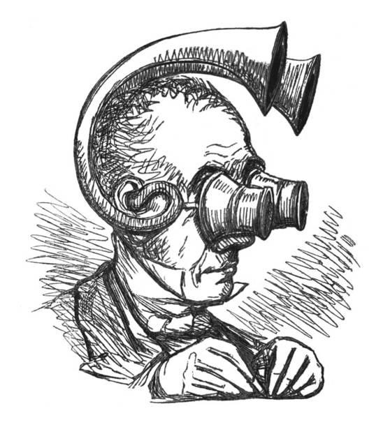 英國諷刺漫畫漫畫插圖 - 男子與有趣的看到和聽到在他的頭上的裝置 - hearing aid 幅插畫檔、美工圖案、卡通及圖標
