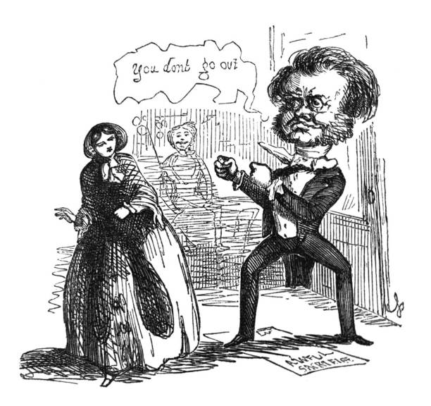 British satire comic cartoon caricatures illustrations - Man with large head telling a woman not to go out in a fighting stance From Punch's Almanack suffragist stock illustrations