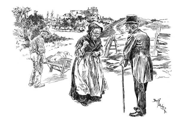 british satire comic cartoon caricatures illustrations - senior woman talking to man as husband move wheelbarrow behind them - old man puppet stock illustrations, clip art, cartoons, & icons
