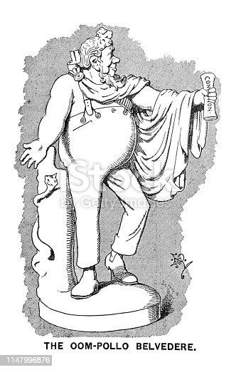 istock British satire comic cartoon caricatures illustrations - The Oom-pollo Belvedere 1147996876