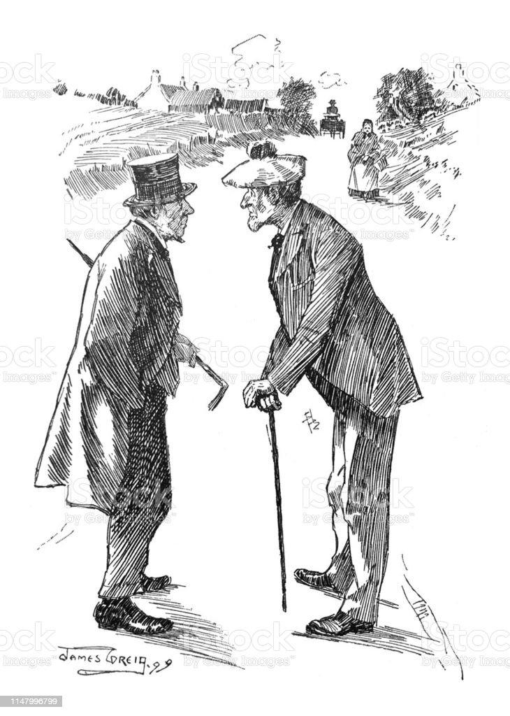 British Satire Comic Cartoon Caricatures Illustrations Two Senior