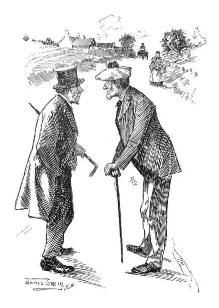 british satire comic cartoon caricatures illustrations - two senior men talking on the road - old man puppet stock illustrations, clip art, cartoons, & icons