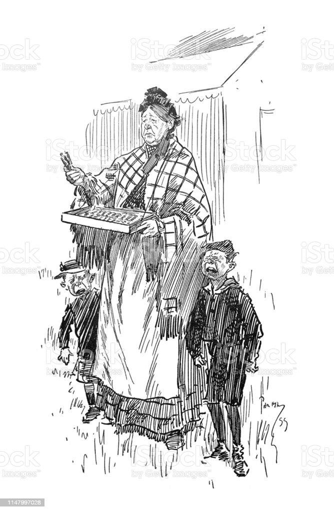 英国の風刺コミック漫画の似顔絵イラスト女の子と泣きながらフェアで商品を売る女性 10 18年のベクターアート素材や画像を多数ご用意 Istock