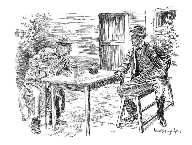 british satire comic cartoon caricatures illustrations - younger man talking to older man sitting at table outdoors - old man puppet stock illustrations, clip art, cartoons, & icons