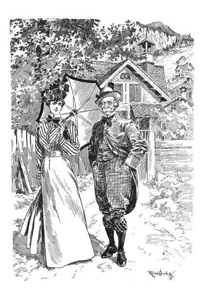 british satire comic cartoon caricatures illustrations - younger woman walking with older man - old man puppet stock illustrations, clip art, cartoons, & icons