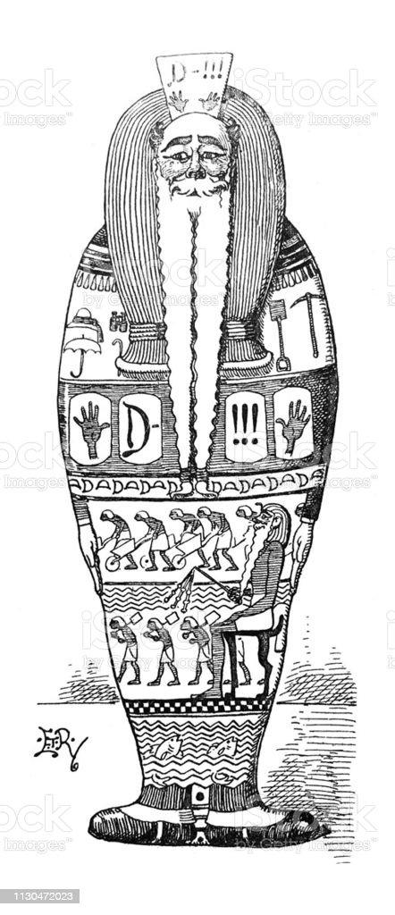 Vetores De Ilustracao De Ilustracoes Sarcofago Egipcio Com Cara De