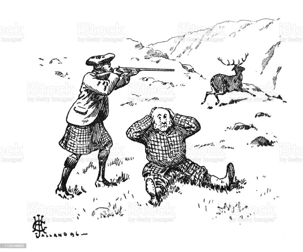British Satire Comic Cartoon Illustrations Hunter And Guide