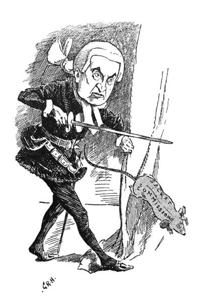 British satire comic cartoon illustrations - Lord chief justice chasing rat labeled Secret Commissions - illustration From Punch's Almanack 1899. chief justice stock illustrations