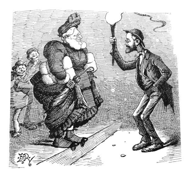 british satire comic cartoon illustrations - man holding torch light for woman on street - illustration - old man puppet stock illustrations, clip art, cartoons, & icons