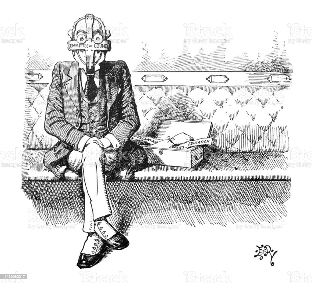 British Satire Comic Cartoon Illustrations Man In An Iron Mask