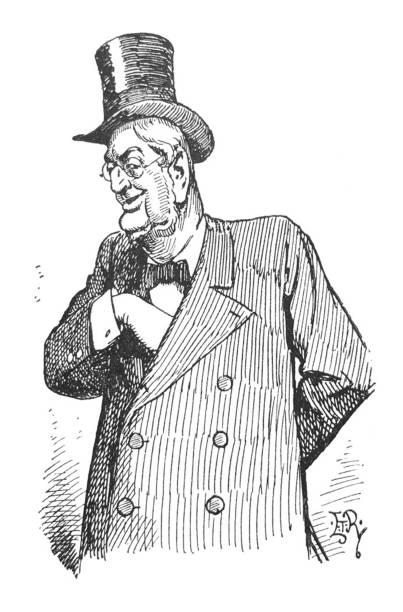 stockillustraties, clipart, cartoons en iconen met britse satire comic cartoon illustraties-man in top hat met hand in jas-illustratie - karikatuur
