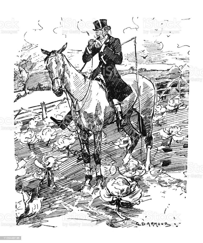 British Satire Comic Cartoon Illustrations Man On Horse Illustration Stock Illustration Download Image Now Istock