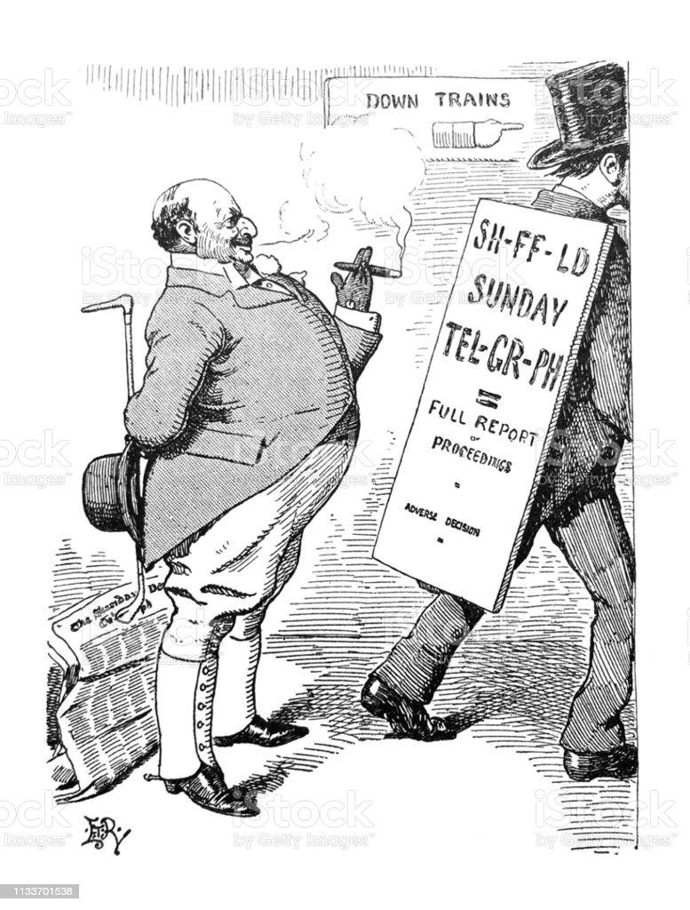British Satire Comic Cartoon Illustrations Man Reading Billboard