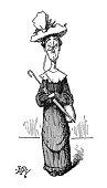 British satire comic cartoon illustrations - Senior woman with umbrella and purse - illustration