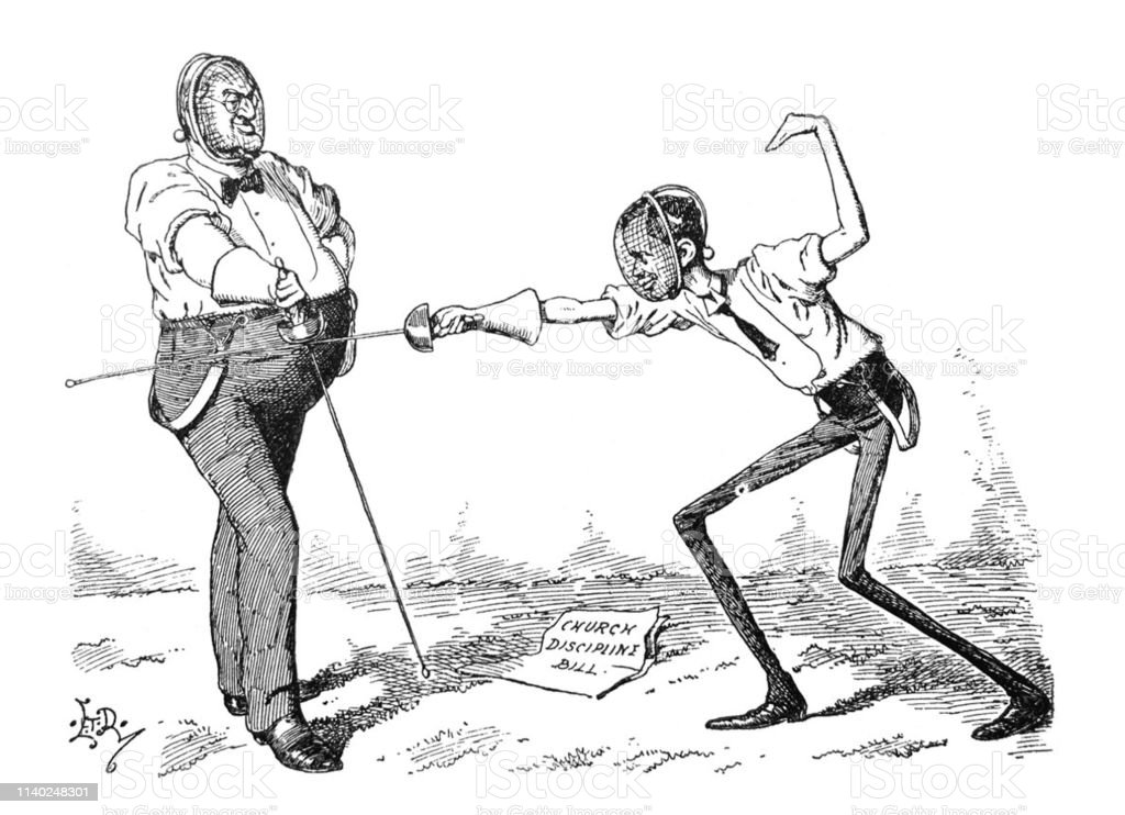British Satire Comic Cartoon Illustrations Two Men With Dueling