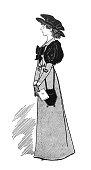 British satire comic cartoon illustrations - Woman in long formal dress - illustration