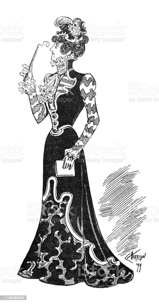 British Satire Comic Cartoon Illustrations Woman In Long Formal