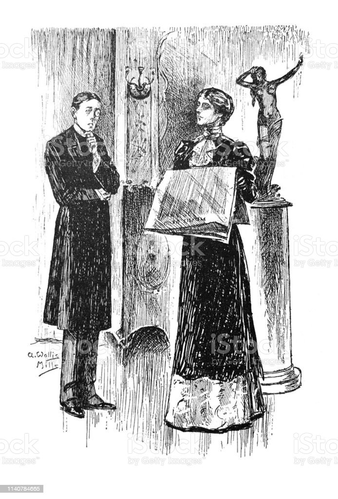 British Satire Comic Cartoon Illustrations Woman With Newspaper