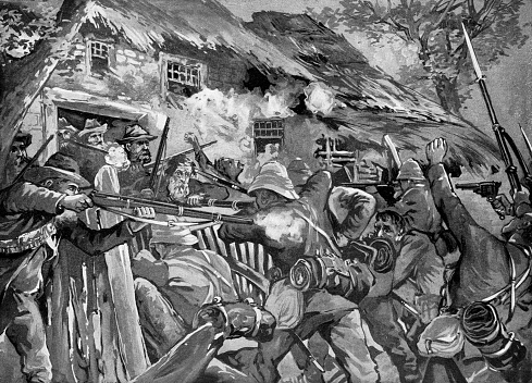 British Soldiers Engaging Boer Commandos at a Farmhouse during the Battle of Modder River of the Second Boer War in South Africa - 19th Century