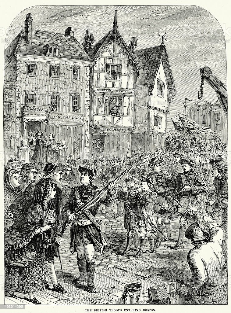 British troops entering Boston vector art illustration