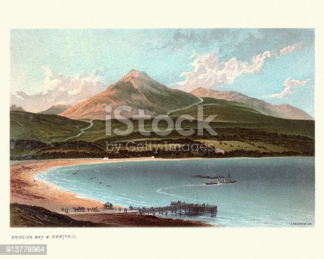 Vintage engraving of Brodick Bay and Goat Fell, Scotland, 19th Century. Goat Fell (Goatfell) is the highest point on the Isle of Arran, North Ayrshire, Scotland