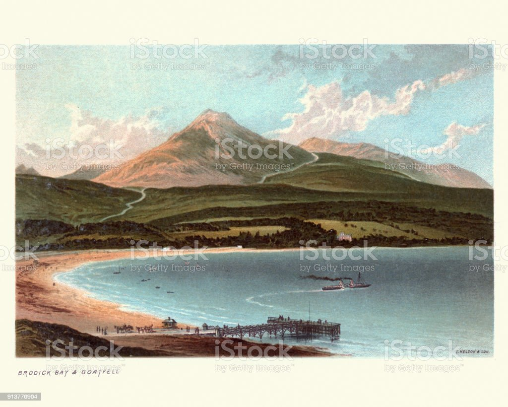 Brodick Bay and Goat Fell, Scotland, 19th Century vector art illustration