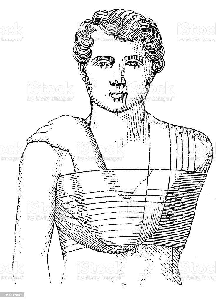 Broken arm bandage support vector art illustration