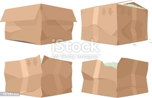 Four variations of mistreated cardboard boxes. Some packing peanuts are visible. Individually grouped for easy editing.