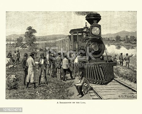 Vintage engraving of a Broken down wild west steam train, 19th Century