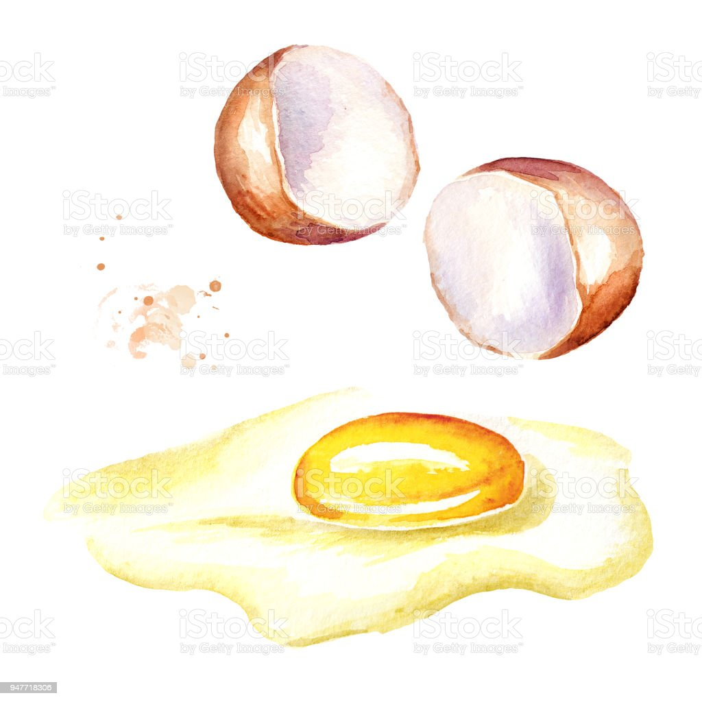 Broken Egg Watercolor Hand Drawn Isolated On White