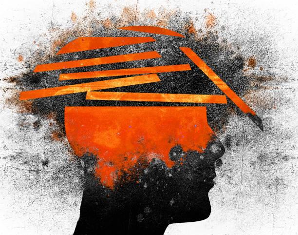 broken head broken human head conceptual digital illustration shock stock illustrations